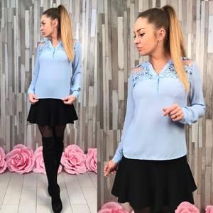Блуза голубая с длинным рукавом Р8645