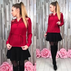 Блуза красная с длинным рукавом Р8646