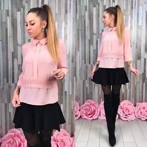 Блуза розовая с кружевом для офиса Р8648