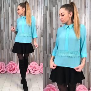 Блуза голубая с кружевом для офиса Р8651