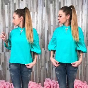 Блуза голубая для офиса Р9561