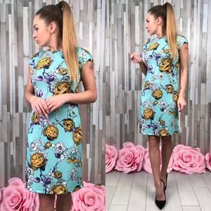 Платье футляр короткое с принтом Р9567
