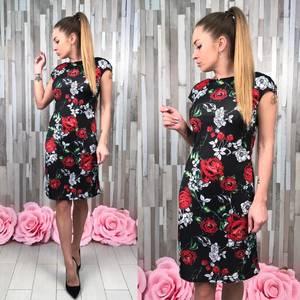 Платье короткое футляр с принтом Р9568