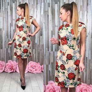 Платье короткое футляр с принтом Р9569
