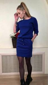 Платье классическое синее короткое С0371