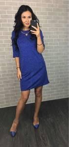 Платье классическое синее короткое С0383