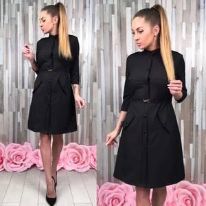 Платье классическое черное короткое С0373