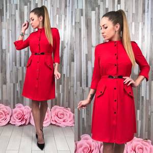 Платье красное классическое короткое С0375