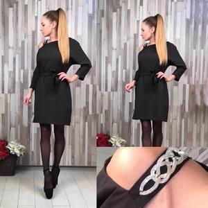 Платье черное короткое классическое С0378