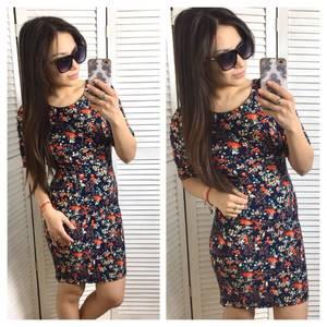 Платье футляр с принтом короткое С0565