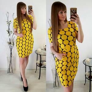 Платье футляр с принтом короткое С0568