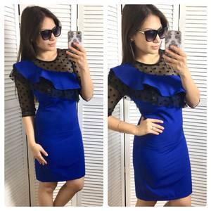 Платье короткое футляр синее С0583