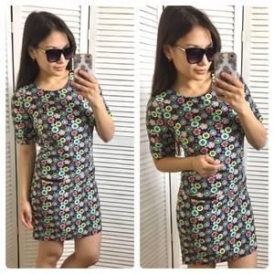 Платье футляр с принтом короткое С0570