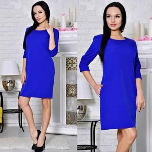 Платье короткое классическое синее С0653