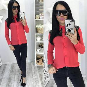 Рубашка красная прозрачная с длинным рукавом С7746