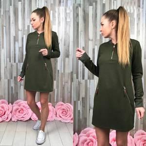 Платье короткое с длинным рукавом С7736