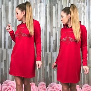 Платье короткое с длинным рукавом С7737