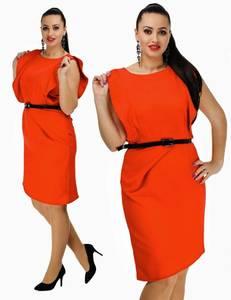 Платье короткое футляр красное С7684