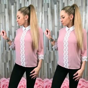 Блуза розовая с кружевом С7774