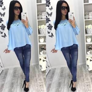 Блуза голубая с длинным рукавом С7928