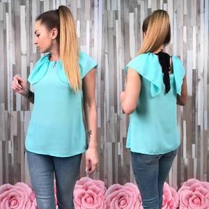 Блуза летняя голубая без рукавов С8779
