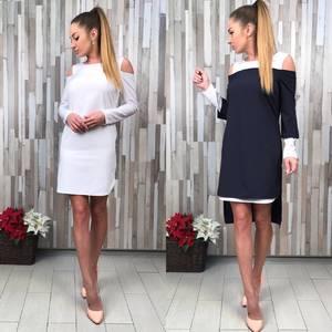 Платье Двойка короткое повседневное с длинным рукавом С8822