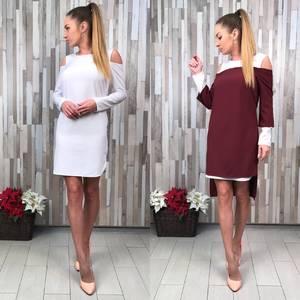 Платье Двойка короткое повседневное с длинным рукавом С8823