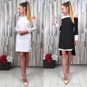 Платье Двойка короткое повседневное с длинным рукавом С8824