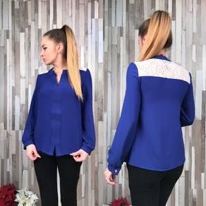 Рубашка синяя с кружевом С8773
