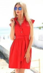 Платье короткое однотонное красное Т6349